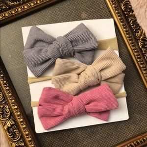 Other - Brand New Set of 3 Corduroy Bow Headbands 0-4 Yrs